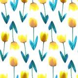 Basse poly illustration de concept de belle fleur jaune Configuration sans joint de tulipe Bas poly modèle de conception de vecte Images stock