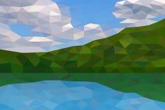 Basse poly rivière et collines vertes Images libres de droits