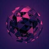 Basse poly sphère avec la structure chaotique Images stock