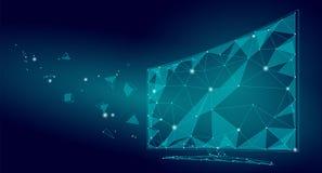 Basse poly vidéo intelligente d'écran de TV Affichage de bureau de technologie de réalité virtuelle polygonale le futur a relié l illustration stock