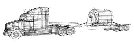 Basse remorque de camion de lit Fil-cadre Véhicule de fret Format EPS10 Vecteur créé de 3d illustration de vecteur