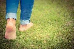 Basse section de femme marchant sur le paysage herbeux photographie stock libre de droits