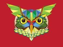 Basse tête de hibou de polygone dans l'illutration géométrique de modèle Photo libre de droits