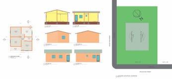 Basse usine, coupes, façades et dimensions populaires d'implantationwith de maison illustration libre de droits