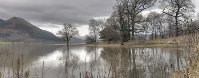 Bassenthwaite Lake. On a very wet and overcast morning stock image