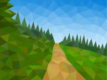 Basses poly montagnes avec le ciel bleu et le chemin Photo libre de droits