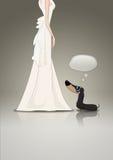 Basset allemand et mariée Photo stock