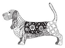 Basset hond zentangle stileerde, vector, illustratie Stock Fotografie