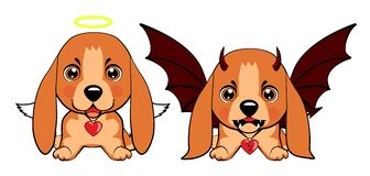 Devil Dog with horns and bat wings and happy dog angel. Basset Hound Basset Puppy. Devil Dog with horns and bat wings and happy dog angel vector illustration