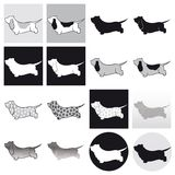 Basset Hound Black & White. 16 Basset hound dog silhouette in black and white Royalty Free Stock Photography