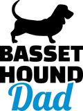 Basset hound dad silhouette. With blue word Stock Photography