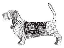 Basset hound zentangle stylized, vector, illustration Stock Photography