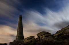 Carn Brea`s Basset monument. The basset monument on top of Carn brea hill in cornwall on a cloudy night Royalty Free Stock Photo