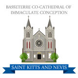 Basseterre co-Cathedral Immaculate Conception Saint Kitts Nevis. Basseterre co-Cathedral of Immaculate Conception in Saint Kitts and Nevis. Flat cartoon style Stock Photos
