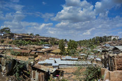 Bassifondi di Kibera a Nairobi, Kenya Immagini Stock