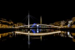 Bassin du Commerce At Night In Le Havre, France. Stock Photos