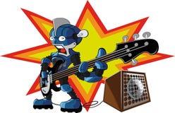 Bassist robot. Robot play hard metal in the bass guitar Stock Photos