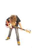 Bassist teen boy with guitar Stock Photos