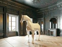 Basso poli cavallo di stile Immagine Stock