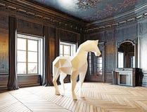 Basso poli cavallo di stile Fotografie Stock