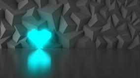 Basso poli cuore del blu della geometria Fotografie Stock