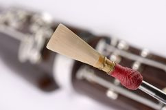 Bassoon Detail, double reed mouthpiece Royalty Free Stock Images