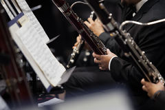 Bassoons in the orchestra closeup Royalty Free Stock Photos