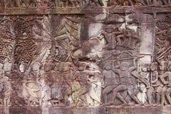 Bassorilievo a Angkor Wat Fotografie Stock Libere da Diritti