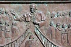 Bassorilievo Papa Giovanni Paolo II, duomo, Messina, Italia Immagini Stock