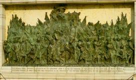 Bassorilievo sul seminterrato del monumento della regina Victoria Kolkata, India Fotografie Stock
