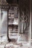 Bassorilievo sulla parete di Angkor Wat Temple Fotografie Stock