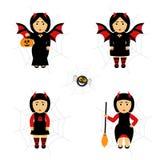 Bastão da menina Vetor ajustado para Dia das Bruxas no estilo dos desenhos animados Menina nos trajes Foto de Stock
