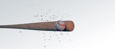 Bastão de beisebol de madeira que bate uma bola Foto de Stock Royalty Free
