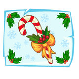 Bastão de doces do Natal e baga do azevinho no gelo ilustração do vetor