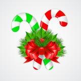Bastão de doces tradicional do Natal com decoração Imagem de Stock
