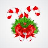 Bastão de doces tradicional do Natal com decoração Imagem de Stock Royalty Free