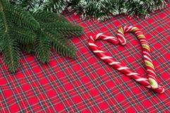 Bastón de caramelo Composición de la Navidad Imagenes de archivo