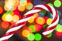 Bastón de caramelo de azúcar de la Navidad Fotografía de archivo