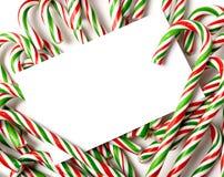 Bastón de caramelo de Chrismas Notecard o invitación Imagen de archivo libre de regalías