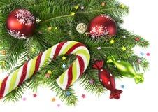 Bastón de caramelo de la Navidad con las chucherías y la conífera Imagenes de archivo
