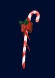 Bastón de caramelo de la Navidad de la acuarela con la cinta roja Imagen de archivo libre de regalías