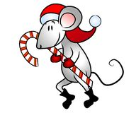 Bastón de caramelo del ratón de la Navidad Foto de archivo