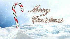 Bastón de caramelo en la Feliz Navidad 4K de la nieve libre illustration