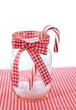 Bastón de caramelo en tarro de albañil fotografía de archivo libre de regalías