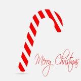 Bastón de la Navidad Deletreado de la Feliz Navidad Estilo plano del diseño Imágenes de archivo libres de regalías