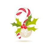 Bastón y acebo de caramelo Imagen de archivo libre de regalías