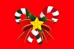 Bast?n de caramelo de la Navidad con el arco Aislamiento del ejemplo en fondo rojo stock de ilustración