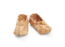 Bast shoes,. Bast, ancient russian shoes,  on white Stock Photo