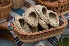 Bast shoes close-up. Horizontal day shot close-up Royalty Free Stock Image