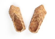 Bast shoes, isolated. Bast, ancient russian shoes, isolated on white Royalty Free Stock Images